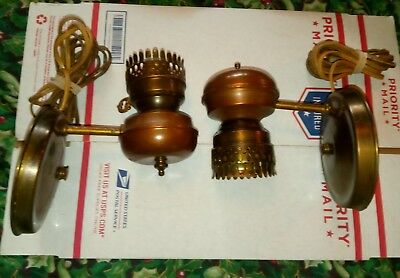 Two Vintage Original Brass And Copper Wall Sconces Mid Century American