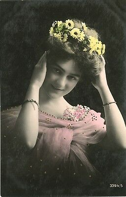 Circa 1910 French Art Nouveau FLOWER CHAIN CROWN Beauty tinted photo postcard