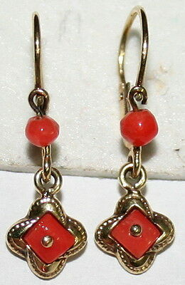 Antique Victorian 9K Gold Salmon Coral Fine Small Dangle Love Knot Earrings 1900