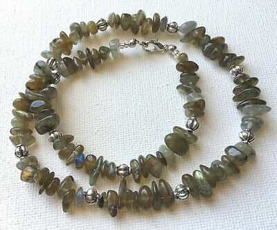 Labradorite Gemstone Chip and Metal Spacer Beaded Choker/Fashion Necklace