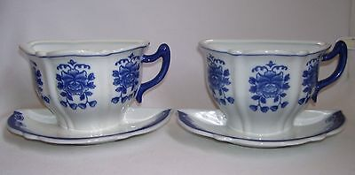 Pair Porcelain Blue & White Half Cup & Saucer Wall Pocket Blue Willow Pattern