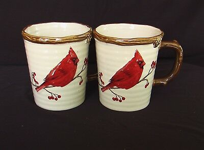 """NEW St. Nicholas Square """"Snow Valley"""" CARDINAL Set Of Mugs These Are Beautiful!!"""