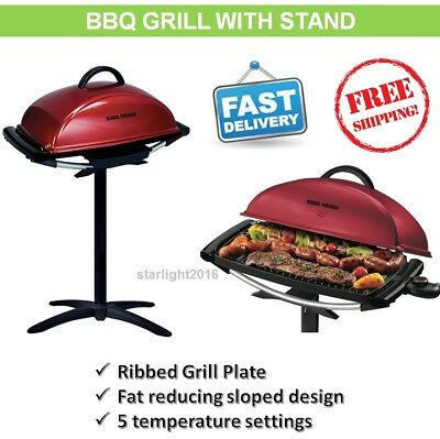 Electric BBQ Grill Removable Stand Outdoor Barbecue Cooking Grill George Foreman