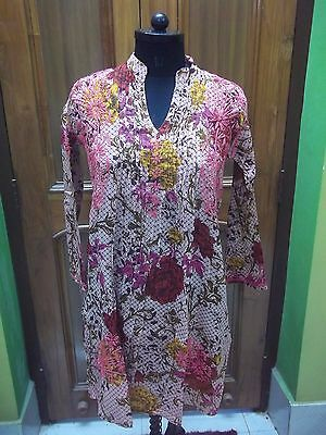 "100% Cotton Blouse S 38"" Handmade Top Tunic Ethnic Chikan Embroidery Kurti Kurta"