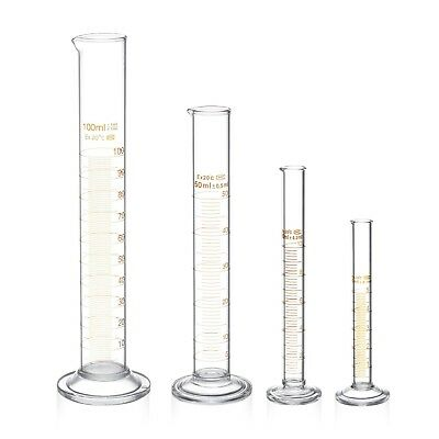 Glass Graduated Measuring Cylinder Set 5ml 10ml 50ml 100ml Glass with Two Brushe