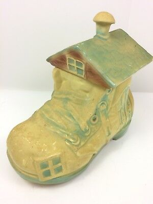 Vintage 1950s Old Woman Who Lived in a Shoe Cookie Jar Kitchen Mid Century USA