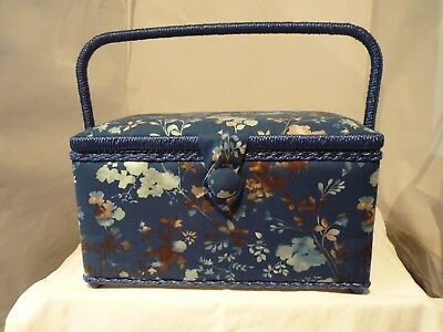 Medium Craft Padded Blue Leaves Sewing Box New With Handle And Compartment Box