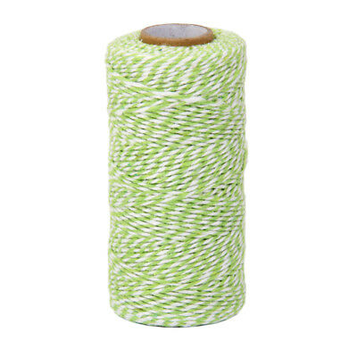 100m Cotton Striped Decorative Bakers Gift Twine DIY Craft Wrap Ribbon Green