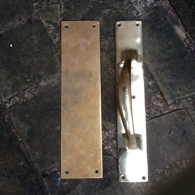 Vintage Brass Door Handle And Brass Finger Plate