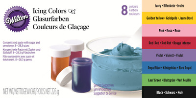 Assorted Wilton Icing Colour Set (28.3g each) Pk 8