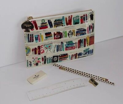 Kate Spade Bookworm Designer Pencil Pouch Set NWOT