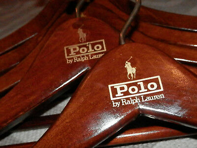 Lot of 6 Vintage Polo Ralph Lauren Dark Wood Suit Hangers GOLD PONY LOGO SHARP!