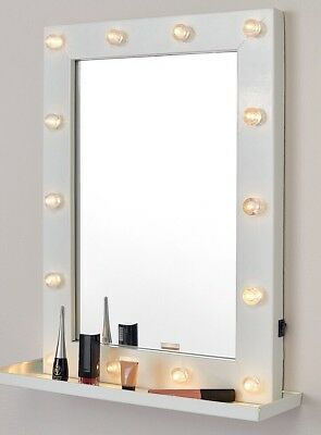 Hollywood WALL MOUNTABLE Mirror With Shelf 14 LED Bulb Mirror BNIB