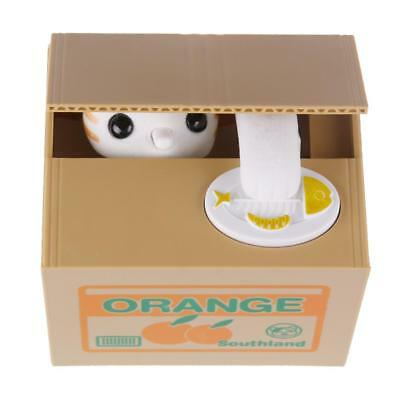Automated Stealing Coin White Kitty Cat Saving Money Box Piggy Bank Child Gift