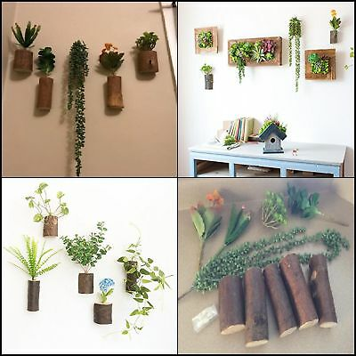 Wooden Wall Hanging Vases Planters Containers Artificial Plants Home Decor 5pcs