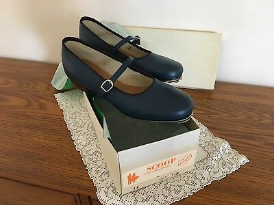 """""""SCOOP"""" Promenaders, """"NAVY LEATHER TAP SHOES"""", Size 7-1/2, NEW with staccatoes"""