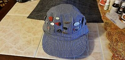 Engineer hat with 26 railroad pins. cool.