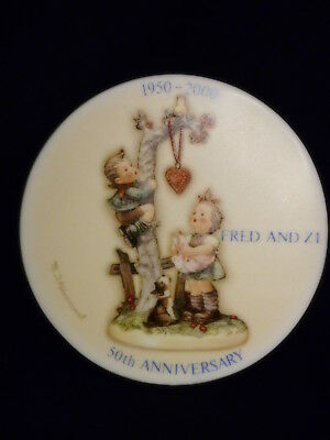 """Very Rare Hummel """"Here's My Heart"""" Fred & Zi Figure 50th Anniversary Plaque MINT"""