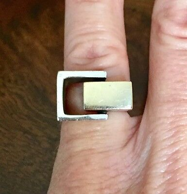 Vintage Mid Century Modernist Signed Cartier Cubist Sterling 14k Gold Ring