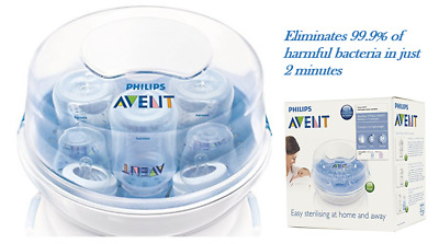 NEW Philips AVENT Microwave Steam Sterilizer Protects Baby Toddler Bacteria Safe