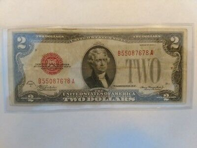 1928 $2.00 United States Red Seal Note - great gift idea