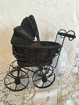 Antique Baby Doll Pram Carriage Stroller Wood & Metal with Original Canvas