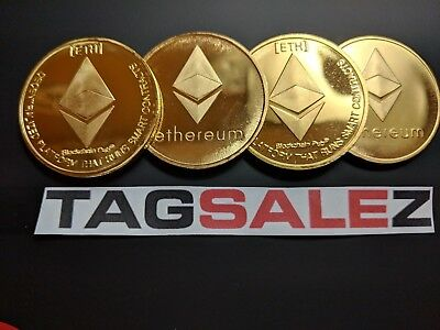 Ethereum! Gold Plated Commemorative Coin .999 Fine Copper Physical Coin ETH Bit