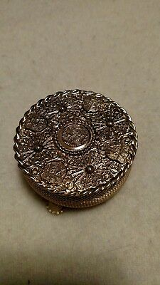 Vintage Trinket Box Brass on the Lid is a Knight with Shields and Designs