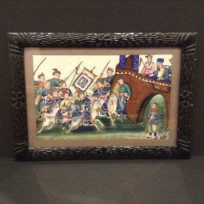 Antique Chinese 19Th Century Painting On Pith/Rice Paper Depicting Battle