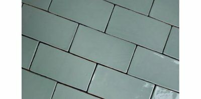 HANDMADE VICTORIAN STYLE WALL TILE 75x150mm DUCK EGG BLUE/GREEN BRICK SHAPE TILE
