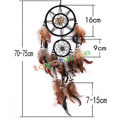 Wall Hanging Decoration Brown Dream Catcher With feathers Decor Bead Ornament US