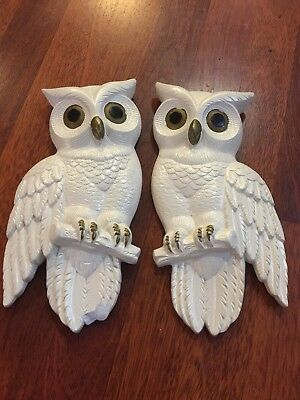 Vintage Owl Wall Decor Owl Wall Plaques Pair of Owls