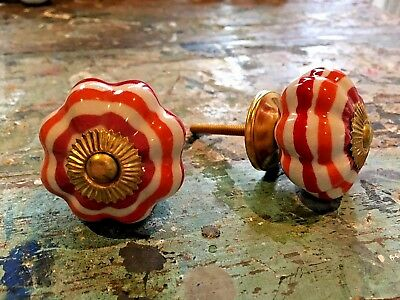 Set of 2 Flower Shape Striped Ceramic Cupboard Door Knobs with Polished Brass