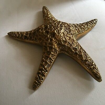 Vtg Solid Brass Large Starfish Made In Korea Very Detailed W/ Wall Hanging Ring
