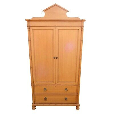 Vintage BAKER Furniture Faux Bamboo 4 Drawer Armoire Wardrobe TV Cabinet Closet
