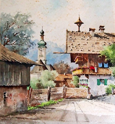 Water color Painting vintage street Swiss Chalet scene artist signed Kafferlein