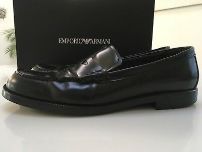 EMPORIO ARMANI BLACK Penny Loafers UK 11  US 12 Made In Italy ... b5617724c3691