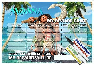 DISNEY MOANA REWARD CHART - REUSABLE Sticker Reward Chart & Pen for children