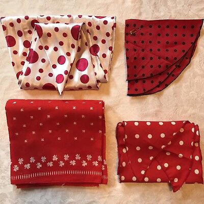 4 Vintage Scarves Red White Polka Dot Shamrock Black Circle Retro Scarf Lot