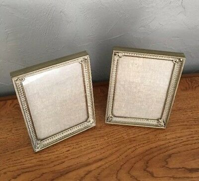 (2) Vintage Ornate Metal Picture Frames for 5X7 Photos w/Glass & Velvet Backing