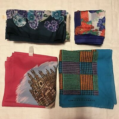 4 Scarves Square Express Berkshire Large Floral Italy Souvenir Vtg Scarf Lot