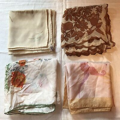 "4 Scarves Silk Echo Large Square Beige Tan Neutral Ocean Rose 27"" Scarf Vtg Lot"