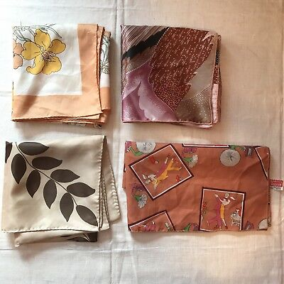 4 Scarves Rain Water Repellent Butterfly Flowers Leaf Square Scarf Vtg Lot