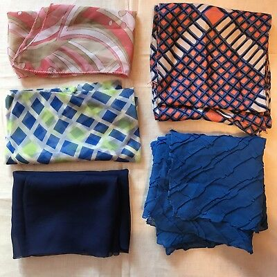 5 Scarves Blue Diamond Geometric Neck Bright Retro Scarf Vtg Lot Ladies