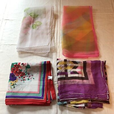 4 Scarves Neon Purple Red Roses Flowers Square Sheer Scarf Vtg Lot Ladies