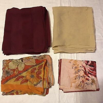 4 Scarves Oblong Echo Floral Brown Orange Maroon Bright Retro Silk Vtg Scarf Lot