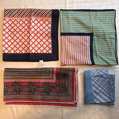 4 Scarves Square Stripe Geometric Cotton Rayon Retro Vtg Scarf Lot Ladies
