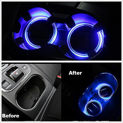 Opar 2pcs Solar Cup Holder Bottom Pad Blue LED Light Cover Trim 4 All Car Track