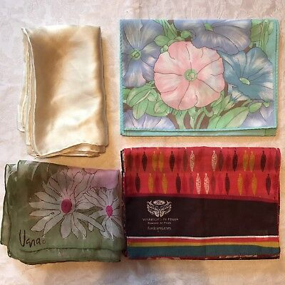 4 Vintage Scarves Cejon Vera Morning Glory Daisy Daffodil Pink Silk Scarf Lot