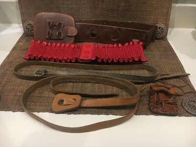 Bundle Of Vintage Woman's Belts 60's 80's Brown Leather Red Elastic
